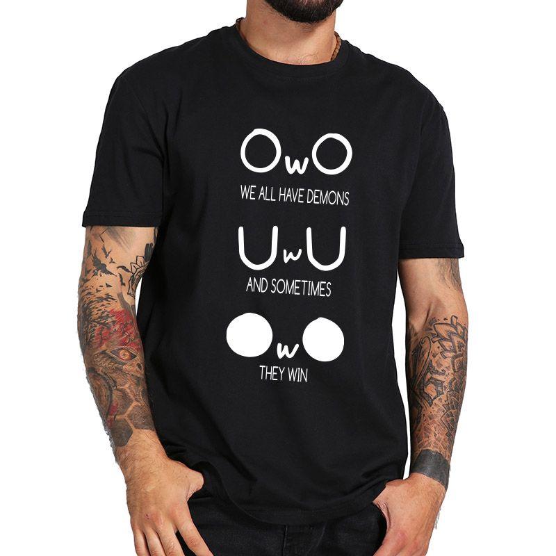 Wir haben alle Dämonen T-Shirt Meme Emotion Lustiges abstraktes Muster mit Rundhalsausschnitt aus 100% Baumwolle T-Shirt EU-Größe