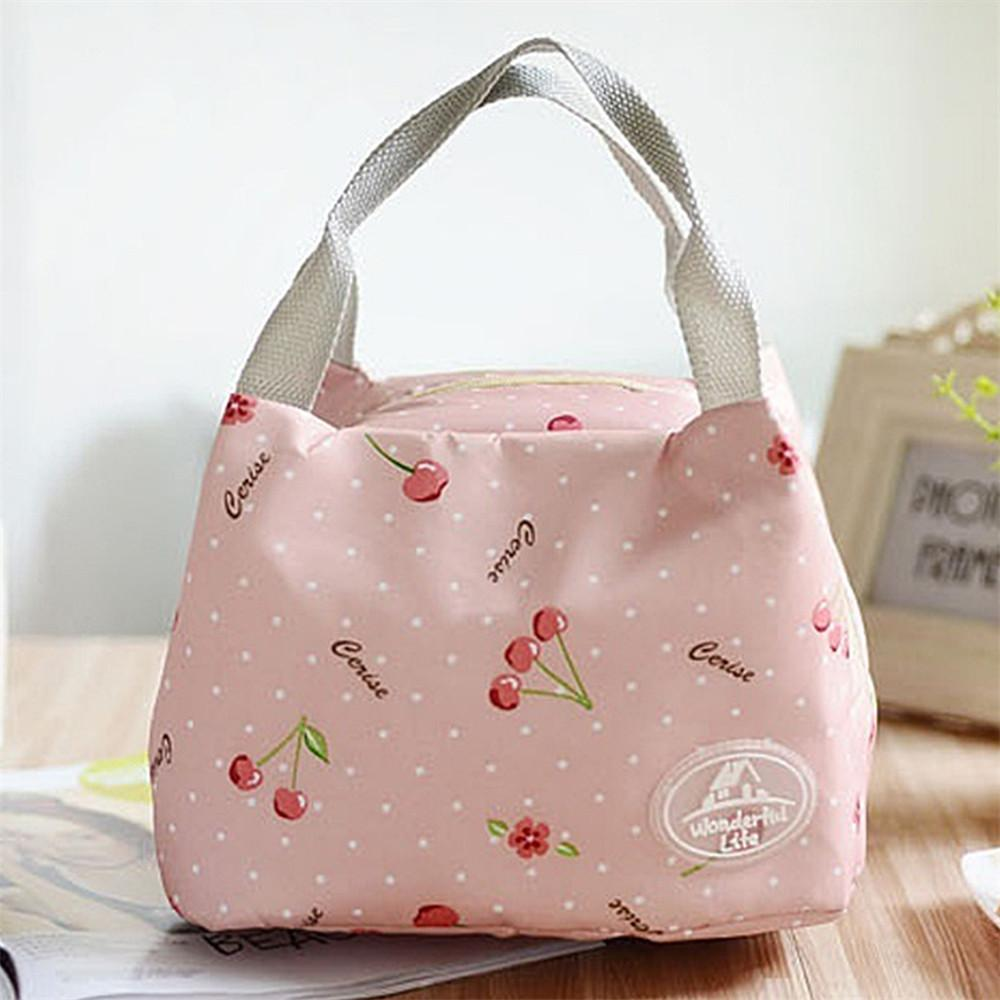 ISKYBOB 2017 New Fashion Portable Insulated Canvas lunch Bag Thermal Food Picnic Lunch Bags for Women kids Men Cooler Lunch Box D19010902