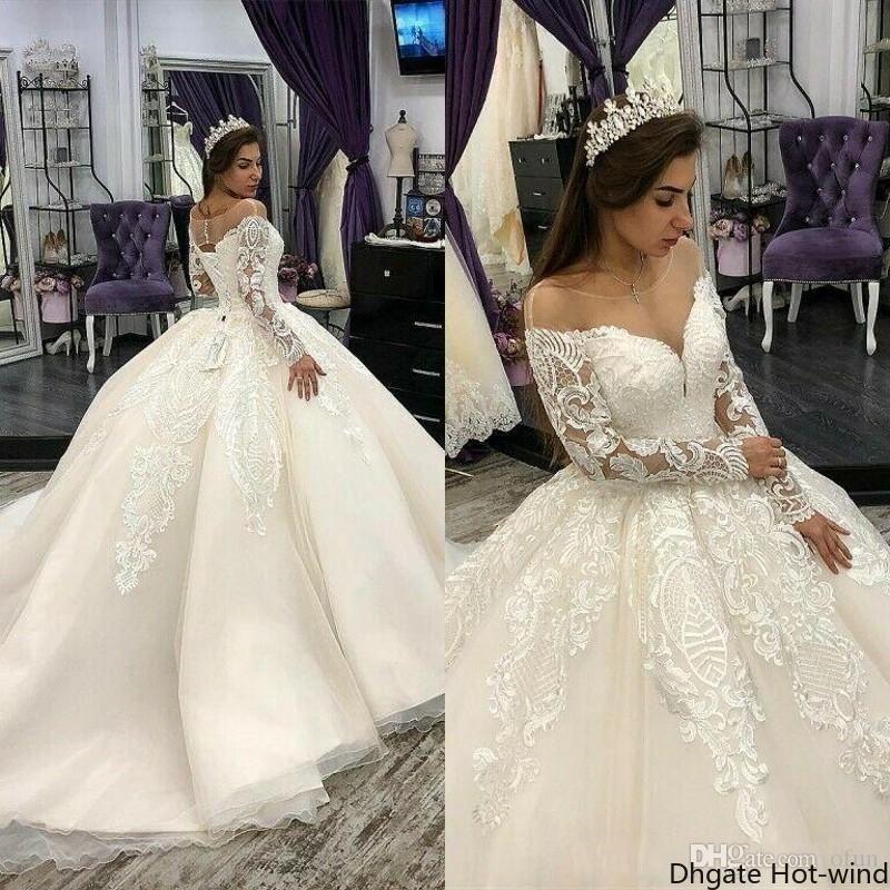 Luxe Princesse Col rond Dentelle Traîne mariage Tulle Robes Applique Perles à manches longues robe de bal robes de mariée