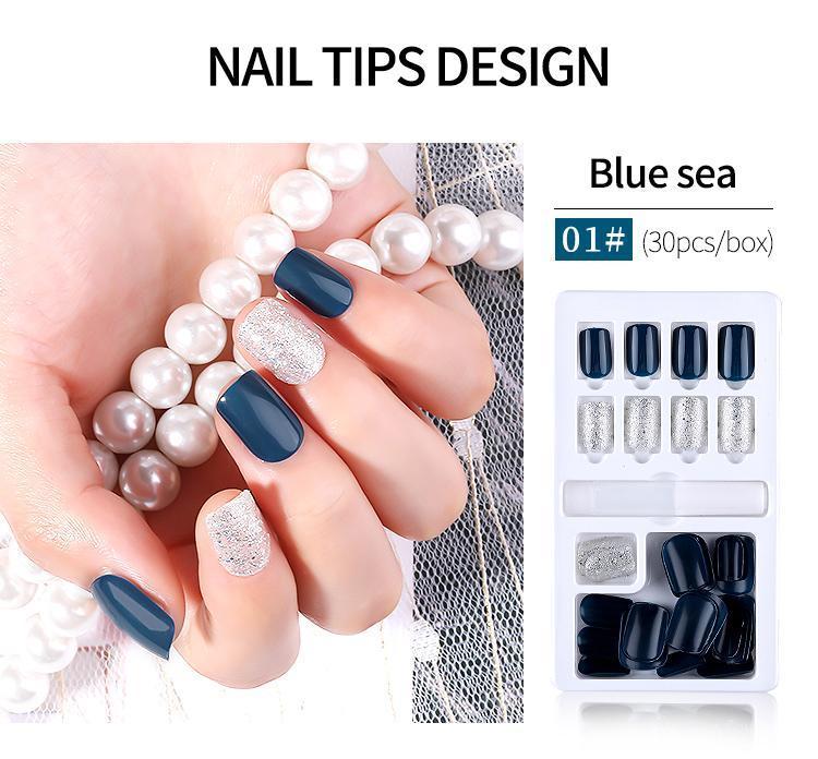 Art und Weise 30pcs Wiederverwendbare Glitter falsche Nagel Künstliche Tipps Set Full Cover für verzierte Design Presse auf Nails Art Gefälschte Erweiterung Tipps Kit