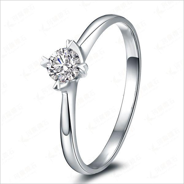 0.5CT genuíno Moissanite clássico casamento personalizado Anel Sólido 18Karat Ouro Branco moissanites anel de noivado para as mulheres T190924