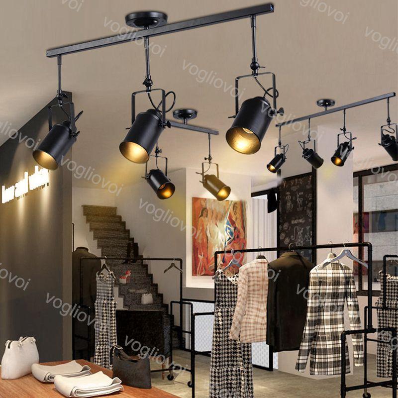 Luci della pista E27 Vintage Loft soffitto creativa pista lampada Per Cloth Shop Coffee Bar chiaro Abbigliamento TV Bar fondale DHL