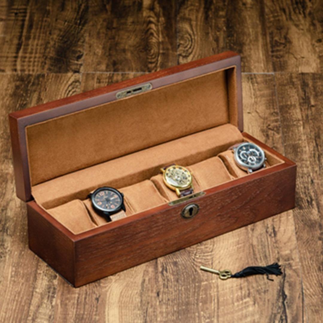 Caja de reloj de madera retro con llavero Caja de soporte para relojes para hombres Rectángulo / Organizador de joyería cuadrada 6 Grids Organizer
