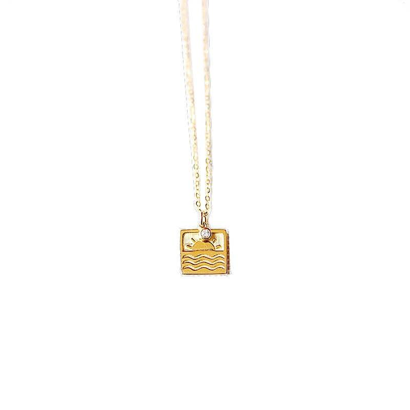 Factory Original design Sunrise Diamond Necklace 18K Yellow Gold Setting with Diamond Cultural Clavicle Chain Necklace Chinese Elements
