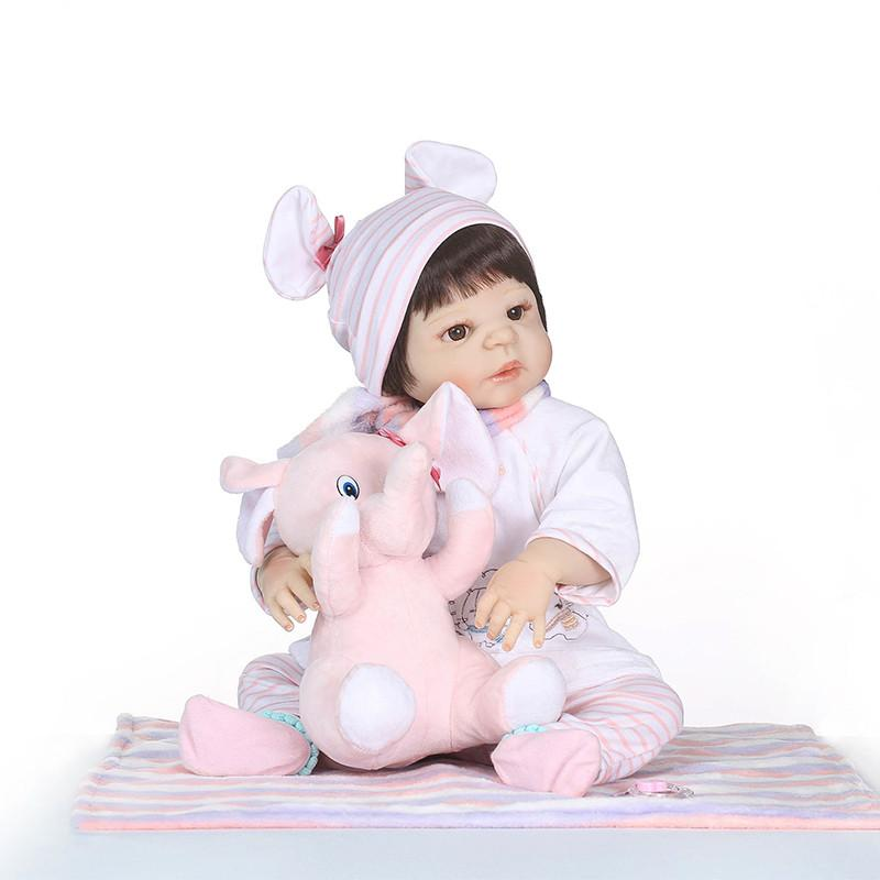 Bebe Reborn 55cm Full Body Silicone Reborn Baby Doll Toys Newborn Princess Toddler Babies Dolls Bathe Toy Play House Toy Doll