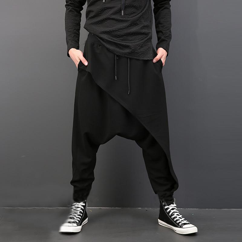 INCERUN Männer-Harem-Hosen-elastische Taillen-lose Street Tropfen-Schritt-Hose-Männer Punk Style Jogger Stylishe Hose plus Größe 5XL