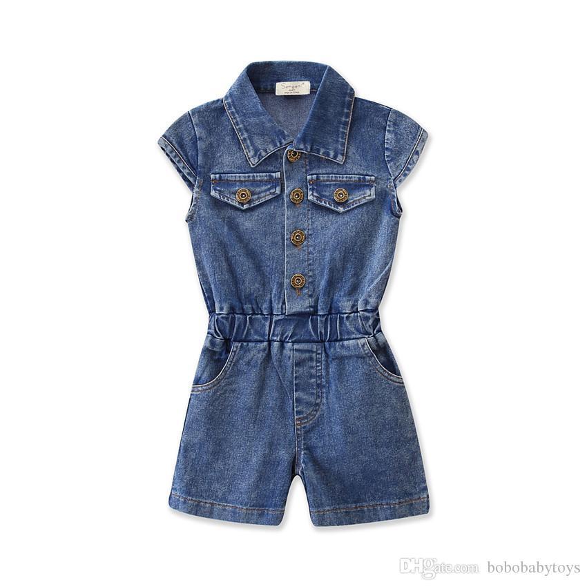 Robe d'été sans manches pour fille d'été Tissu en pur coton 1-7 ans Shorts pour enfants Combinaisons Cowboy Doux et en sueur
