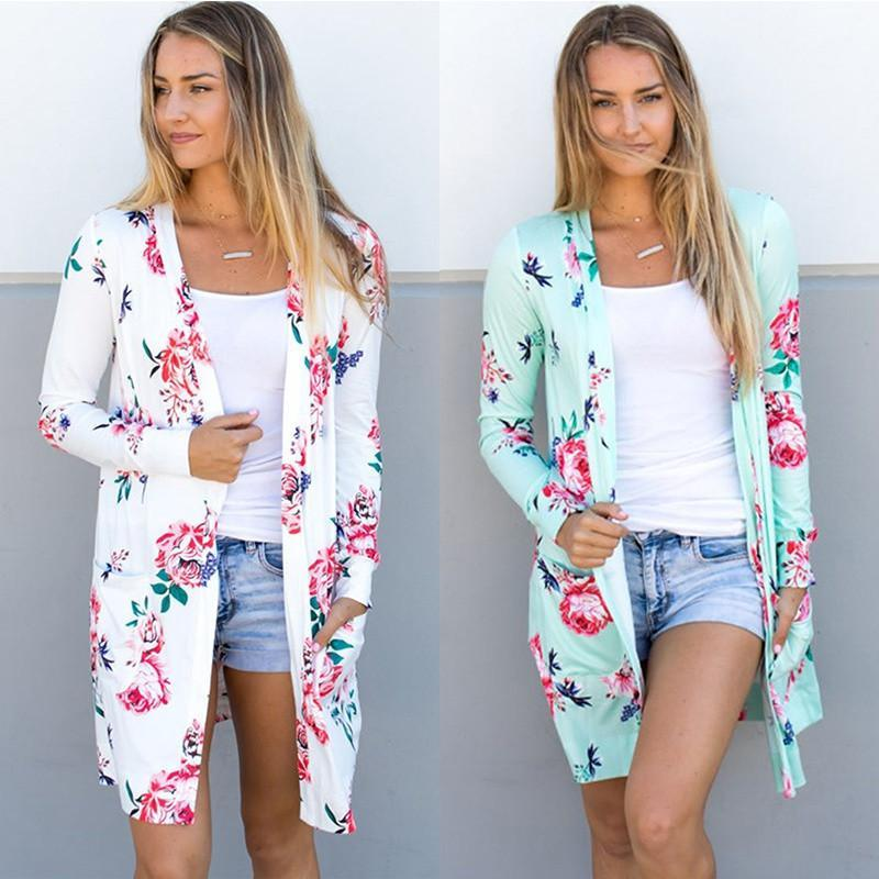 봄 여성 꽃 카디 건 미국 유럽 스타일 탑 캐주얼 대비 긴 소매 얇은 겉옷 판매 가기 의류