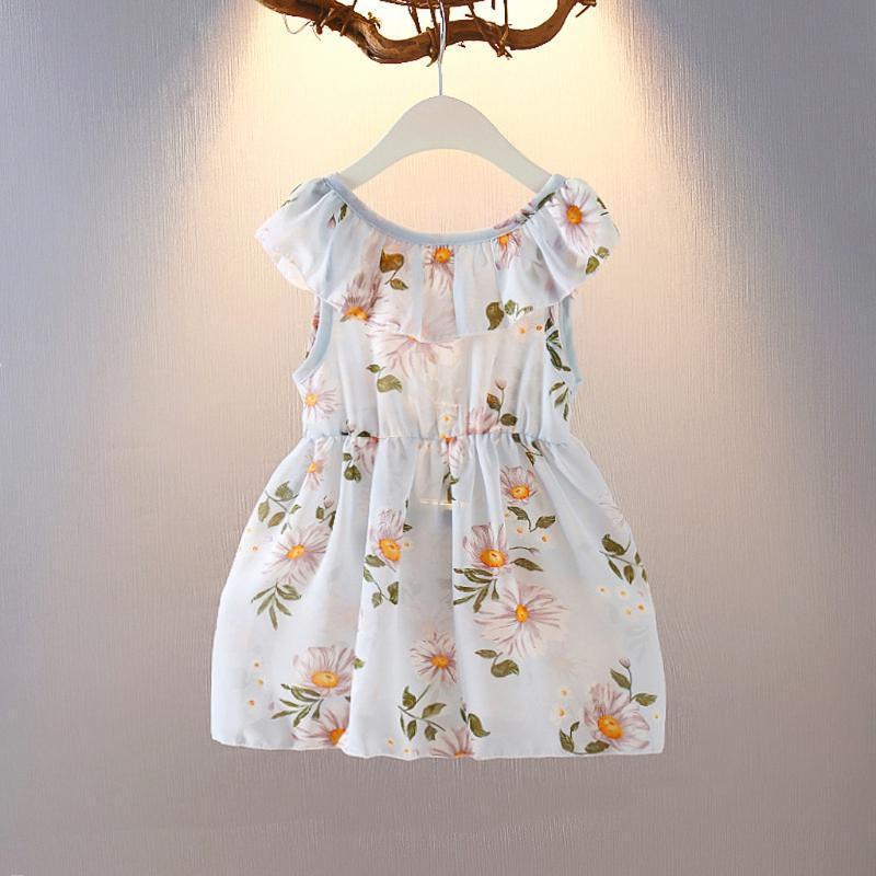 Tout-petit Enfant Robe 2020 Summer Baby Girls Party à imprimé floral Vêtements Robe Princesse Tenues O-Neck Mode Bébé fille Clothig