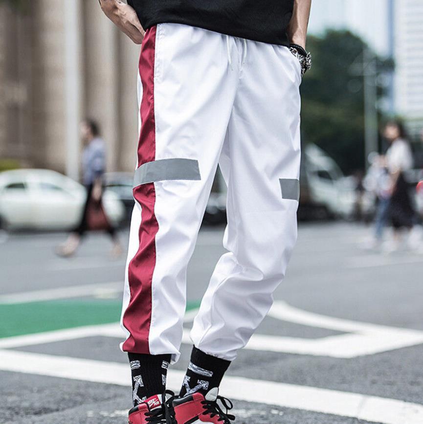 Coolred-Men Hip-Hop Elastic Waist Stripes Sports Workout Jogger Pant