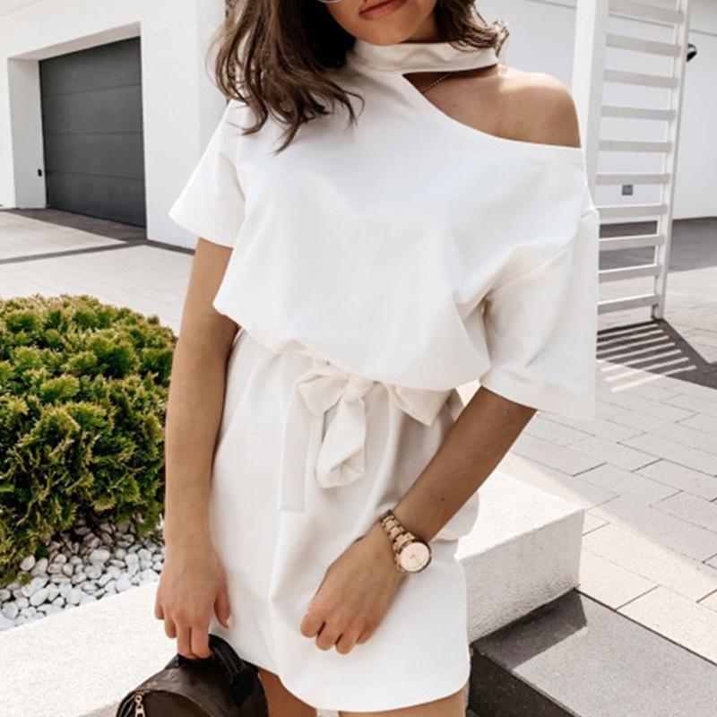 LLYGE Soğuk Omuz Halter Elbise Kadınlar Sashes Kısa Kollu Kadın Mini Elbiseler 2020 Yaz Moda Yeni Casual Lady Vestodis
