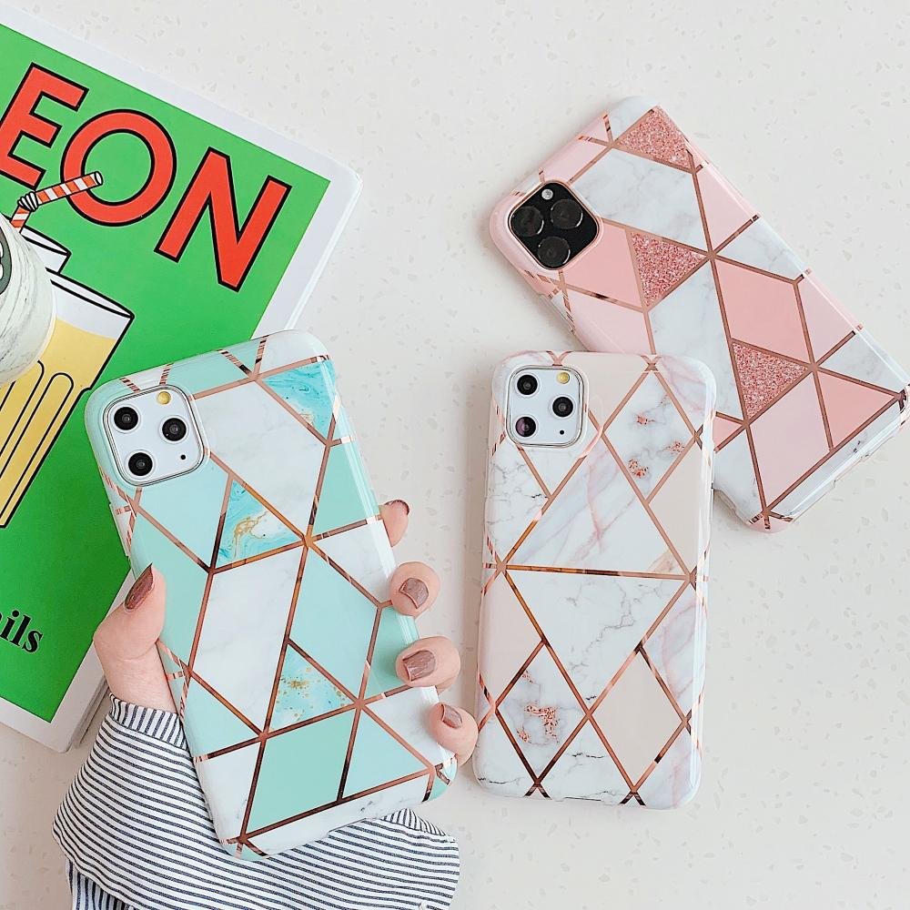 Soft TPU Phone Cover Plated Geometric Marble Case for iPhone 12 mini 11 Pro XS Max XR X 6 6S 7 8 Plus