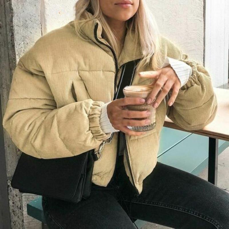 Damen Down Parkas Casual Cordoy Dicke Parka Mantel Frauen Winter Warme Mode Reißverschluss Revers Oberbekleidung Mäntel Weibliche Streetwear Jacke