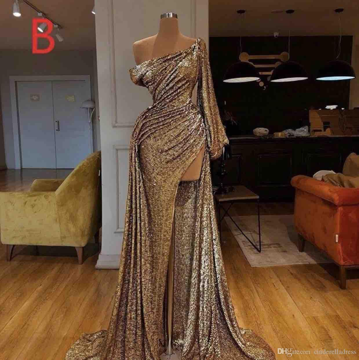 2020 Sexy Long Sleeve Gold Mermaid Reflective Prom Dresses Sexy High Split Sequined Formal Evening Gowns robe de soiree Abendkleider