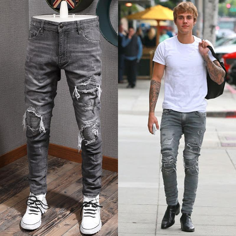 Hombre Jeans Gray Impreso Patchwork Applique Men's 5 Pocket Slim Fit Stretch Denim Algodón Pantalones Vaqueros Hombre