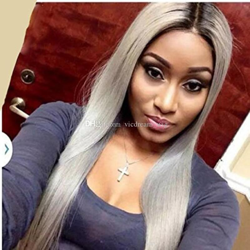 100% human hair full lace hair wigs silky straight #1bt grey with baby hair lace front human wigs for black women