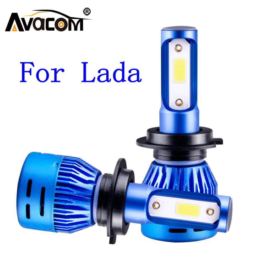 Faro dell'automobile H4 LED H7 H1 H3 H8 H11 9005 9006 72W 8000LM 6500K Car Styling Auto Fari fendinebbia di lampadine per Lada Niva / Vesta