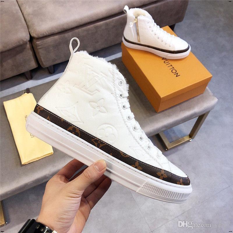 Sapatos 21FW Homens vulcanizados Walking Sneakers Primavera Outono PU de couro clássico High Top Homens Impresso Casual Botas Homem Buty Meskie