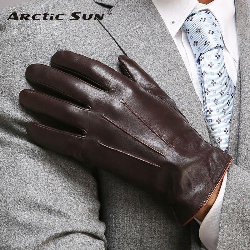 Top qualité Gants en cuir véritable pour les hommes d'hiver thermique écran tactile Gants en peau de mouton Mode Slim poignet Driving EM011 T191130