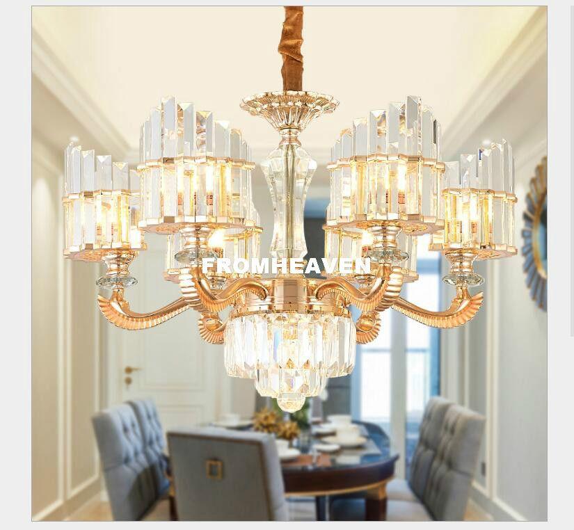 Crystal Chandelier Luxury Alloy Golden Crystal Lamps Dining Room Chandelier  Modern LED Chandeliers Hanging Light Dining Room Chandeliers Rustic ...