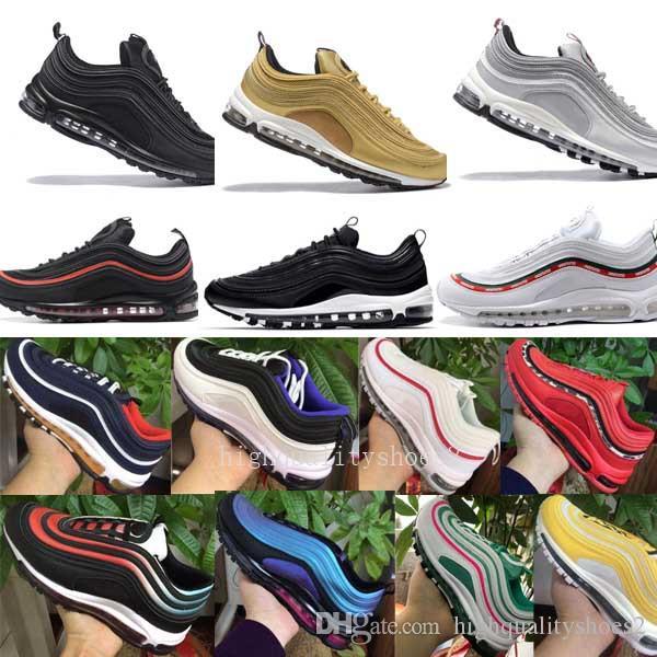 Nike Air Max 97 Airmax 97 air 97 운동화 남성과 여성 OG 스포츠 신발 골드 실버 총알 새로운 색상 스타일 할인 운동화 신발 크기 Eur 36-45
