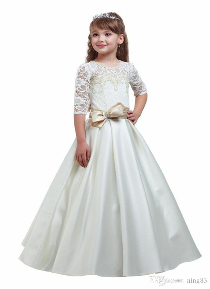 Baby Girl flower girl dress embroidery Silk Princess Dress for Wedding party Kids Dresses for Toddler Children Christmas