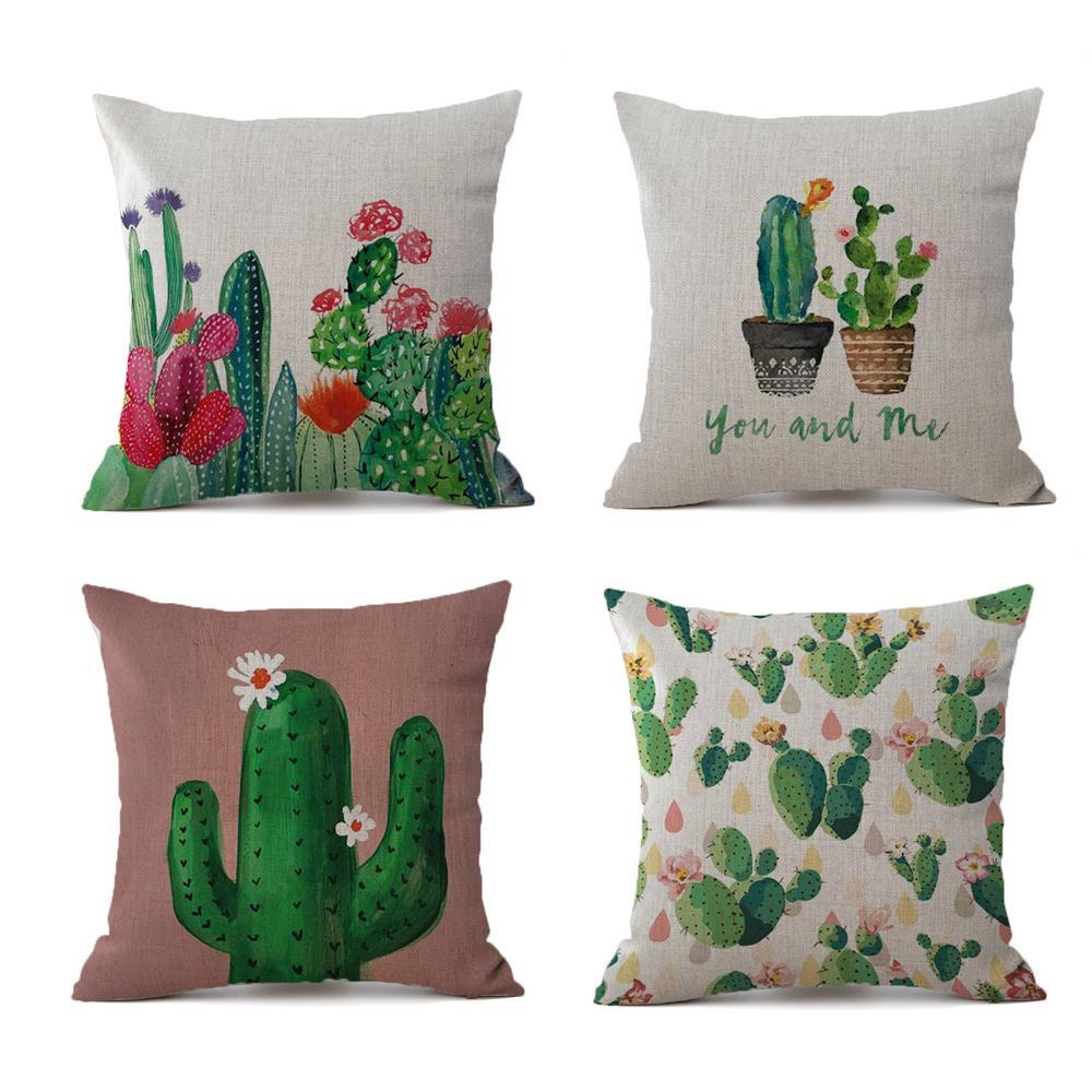 Tropikal Bitkiler Kaktüs Yastık Kılıfı Keten Dekoratif Yastık kılıfı Tropikal Cactus Yastık Kılıfı Kussensloop Almohada atın
