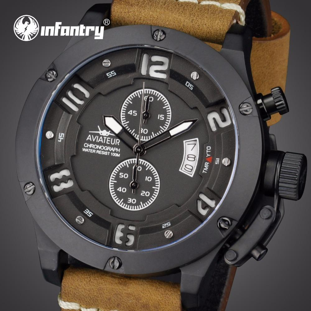Infantry Mens Watches Top Brand Luxury Military Watch Men Waterproof Aviator Pilot Leather Watches For Men Relogio Masculino C19021601