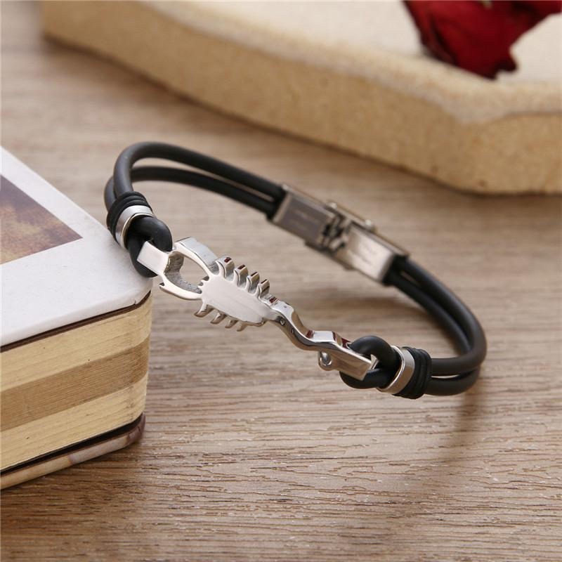 Hot Stainless Steel Bracelet for Men Punk Scorpion Silicone Rope Bracelets Bangles Jewelry Accessories