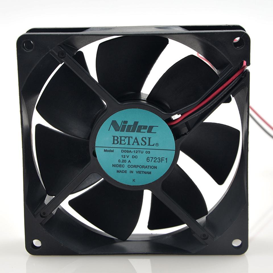 NIDEC 12V 0.20A D09A-12TU 03 coolingfan 9CM 9025 90 * 90 * 25mm para ventilador de enfriamiento del inversor Foxconn 2 hilos
