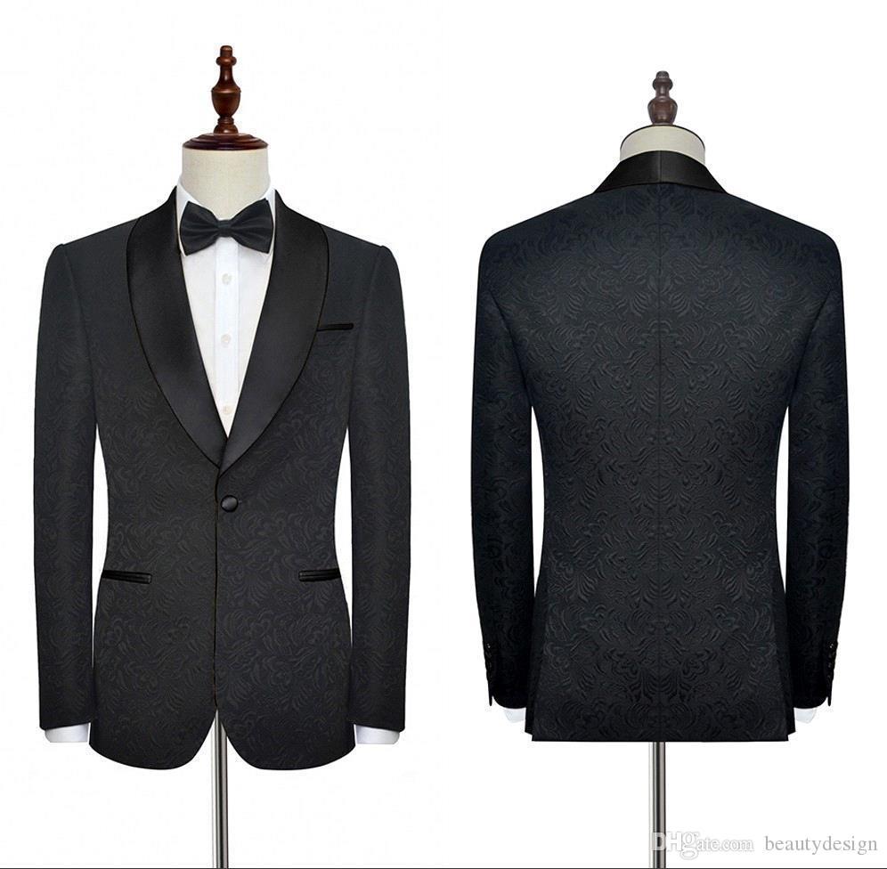 NOUVEAU NOIR MARIAGE TUXEDOS Costumes Formellement pour Mariages Travaux d'entreprise Hommes Convient aux costumes de blazer personnalisés de haute qualité avec broderie SU0021