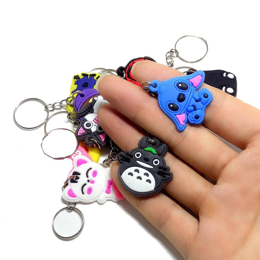50pcs/100pcs/200pcs/500pcs Mix Pvc Cartoon Key Chain Key Ring Children Anime Figure Keychain Key Holder Kid Toy Pendant