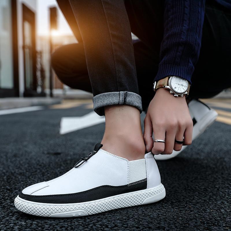 Мода кроссовки Кожа Мужская обувь Твердые Цвет Работа Работа Повседневная обувь Zapatos де hombretenis adulto Мужчина для