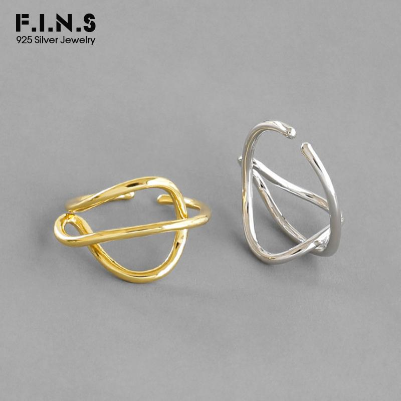 F. I. N. S S925 Sterling Silver Ring INS минималистская абстрактная линия пересеченная женское кольцо открытое серебро 925 корейская мода ювелирные изделия