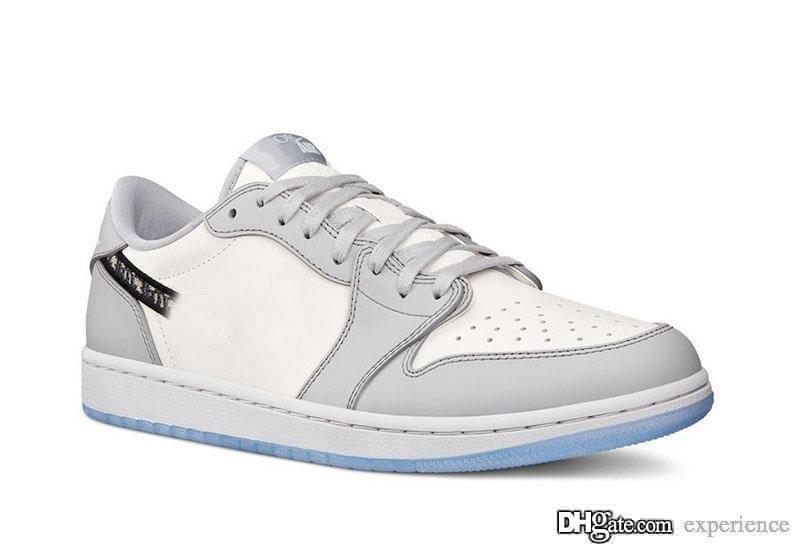 2020 uscita autentica 2020Dior X Air 1 Low Olimpiadi lupo grigio 1S Sail Photon polvere bianca CN8608-002 Uomini scarpe da basket Sport Sneakers