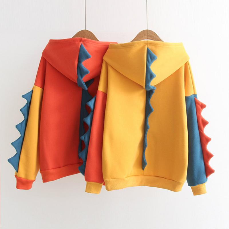 Muchachas de las mujeres espesan el paño grueso y suave con capucha Estilo de la universidad japonesa lindo del dinosaurio Imprimir la capa encapuchada del algodón caliente sudaderas