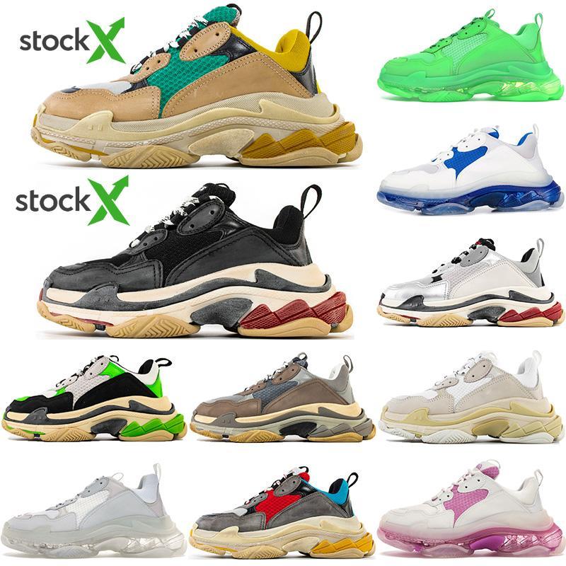En kaliteli 2020 Yeni Paris Moda 17FW Üçlü S Sneakers Boots For Men Kadınlar Yeşil White'ın spor ayakkabısı Vintage Eski Baba dede Günlük Ayakkabılar