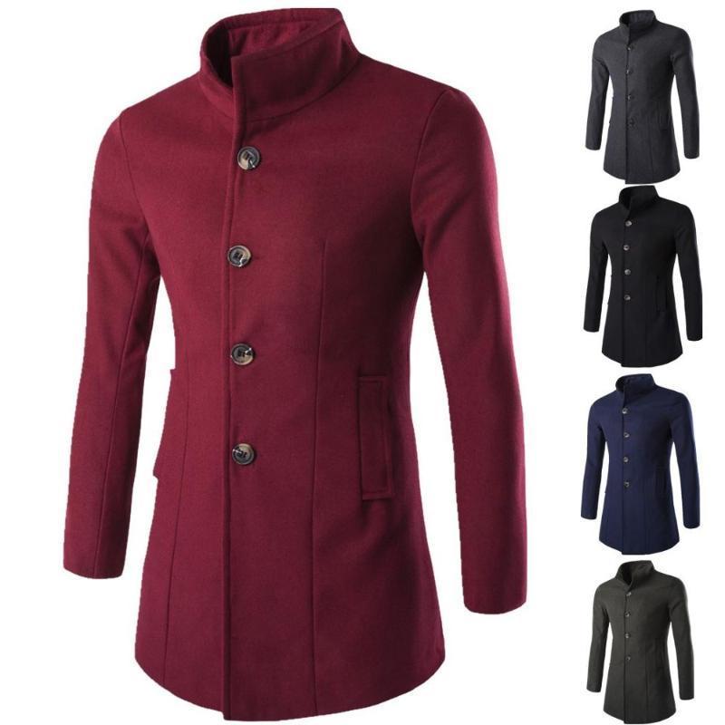 2020 Long Medieval Trench Woolen Coat Men Red Stand Collar Gothic Overcoat Man Coat