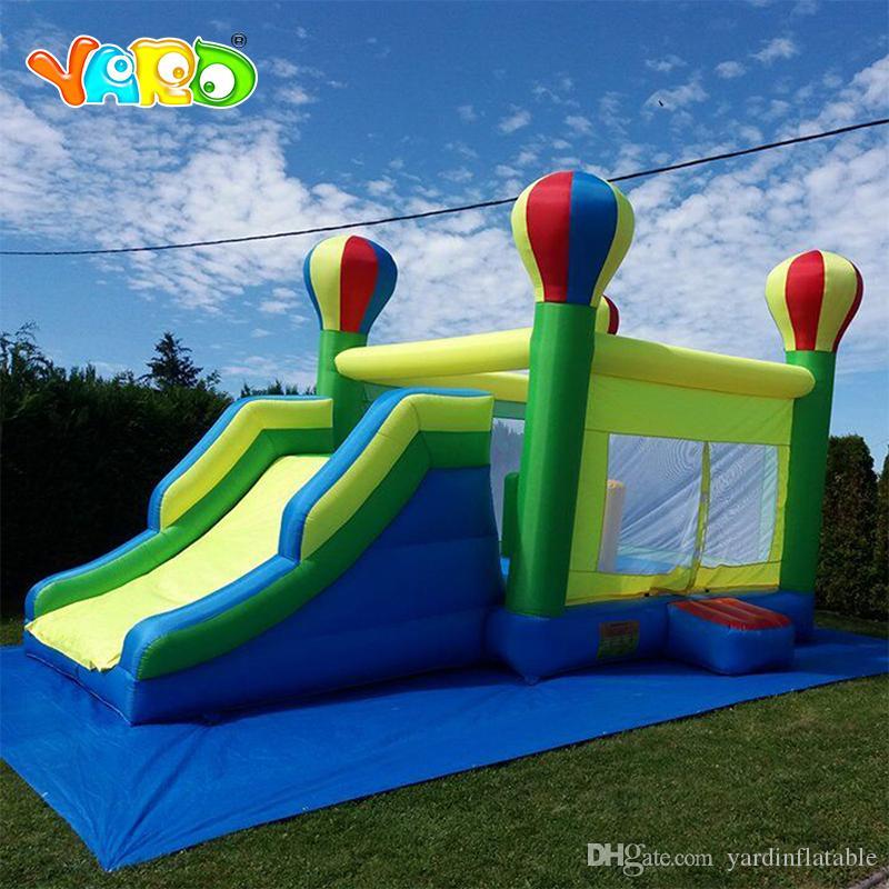 Fábrica chinesa Nylon Inflável Arco-íris Balão Forma Trampoline Slide Inflável Combo Bouncy Castelo Saltando Casa Bouncy