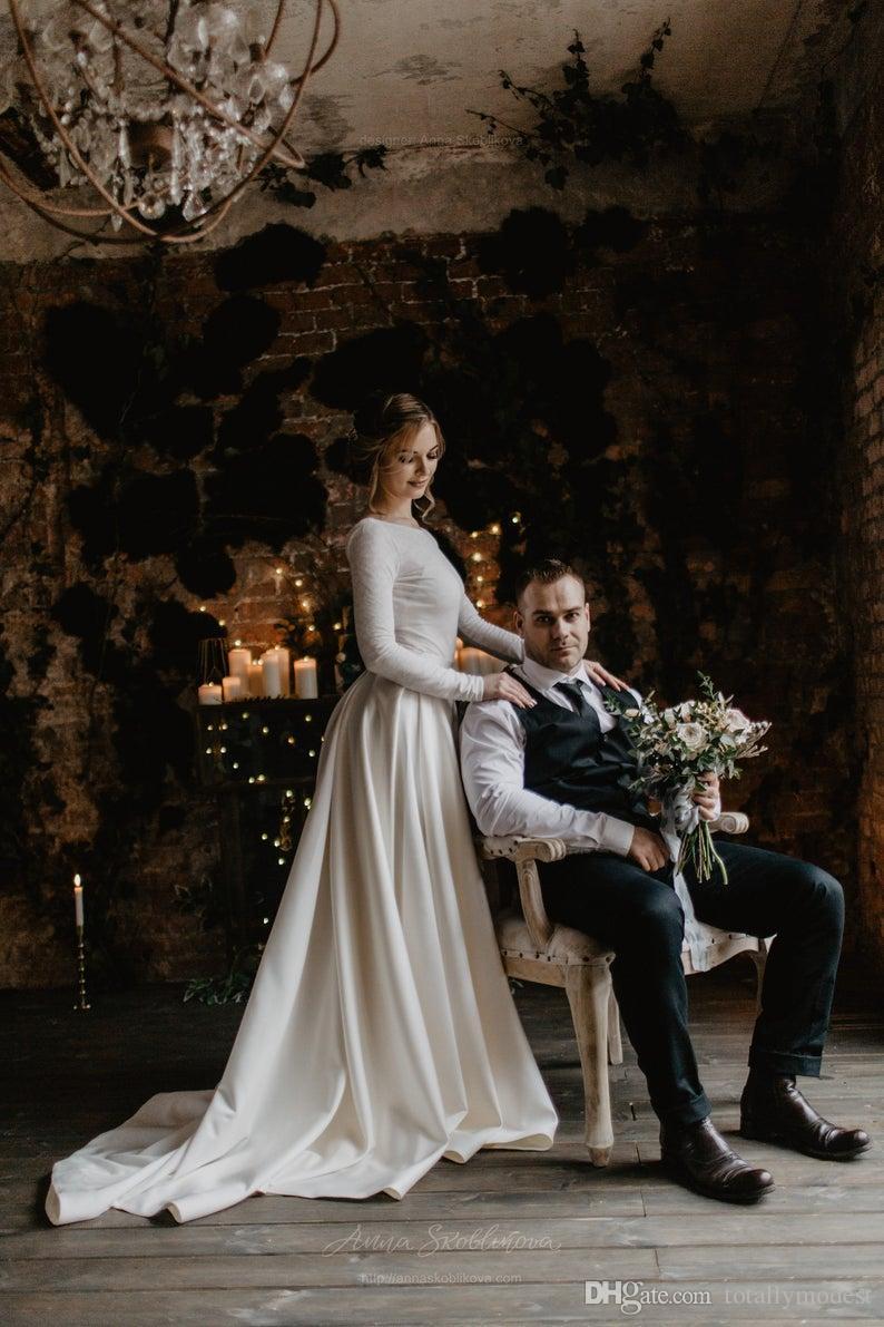 2019 una línea de crepé satinado boho vestido de novia modesto con mangas largas espalda baja país occidental vintage vestidos de novia simples por encargo