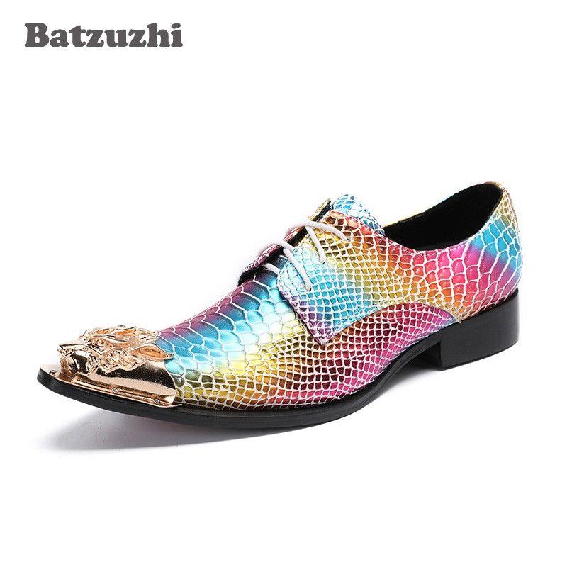 Batzuzhi Punk Rock Scarpe da uomo Punta in metallo dorato Scarpe da uomo in pelle colorata per gli uomini Scarpe da festa e da cerimonia per uomo, 46