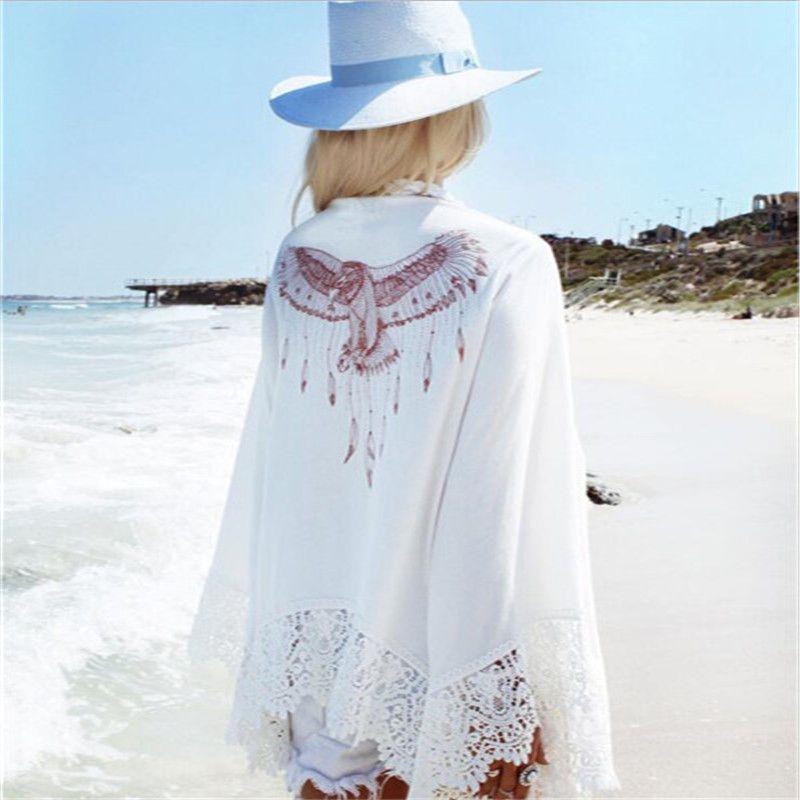 레이디 Summer Eagle Beach Cover-Ups 패션 느슨한 태양 보호 의류 인기있는 퀵 드라이 여성 비치 의류