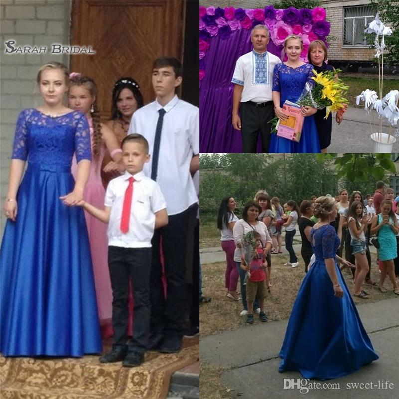 2019 Cheap Blue Satin Half Sleeves Aline Prom Dress With Jewel Backless High-end Customed Made Vestidos De Novia Party Gown