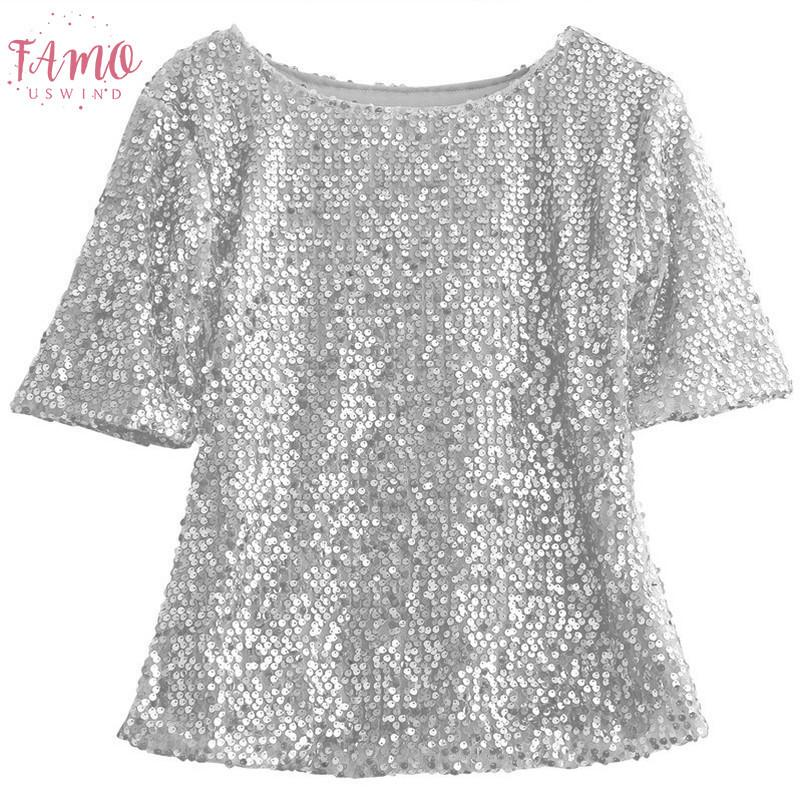 High Street Fashion Ladiesclothes manches courtes col rond Glistening Sequin Blouse Chemises Slim Unique Design Blouses Tops solides