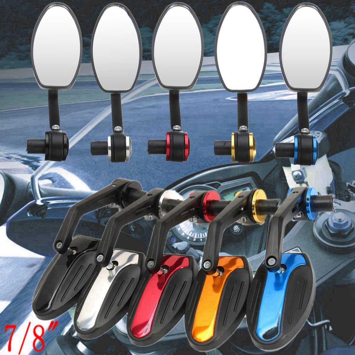 1 زوج العالمي 7/8  للدراجات النارية الألومنيوم للرؤية الخلفية المرايا الجانبية الدراجة مرآة التعامل مع نهاية بار 360 درجة في الهواء الطلق دراجة مرآة