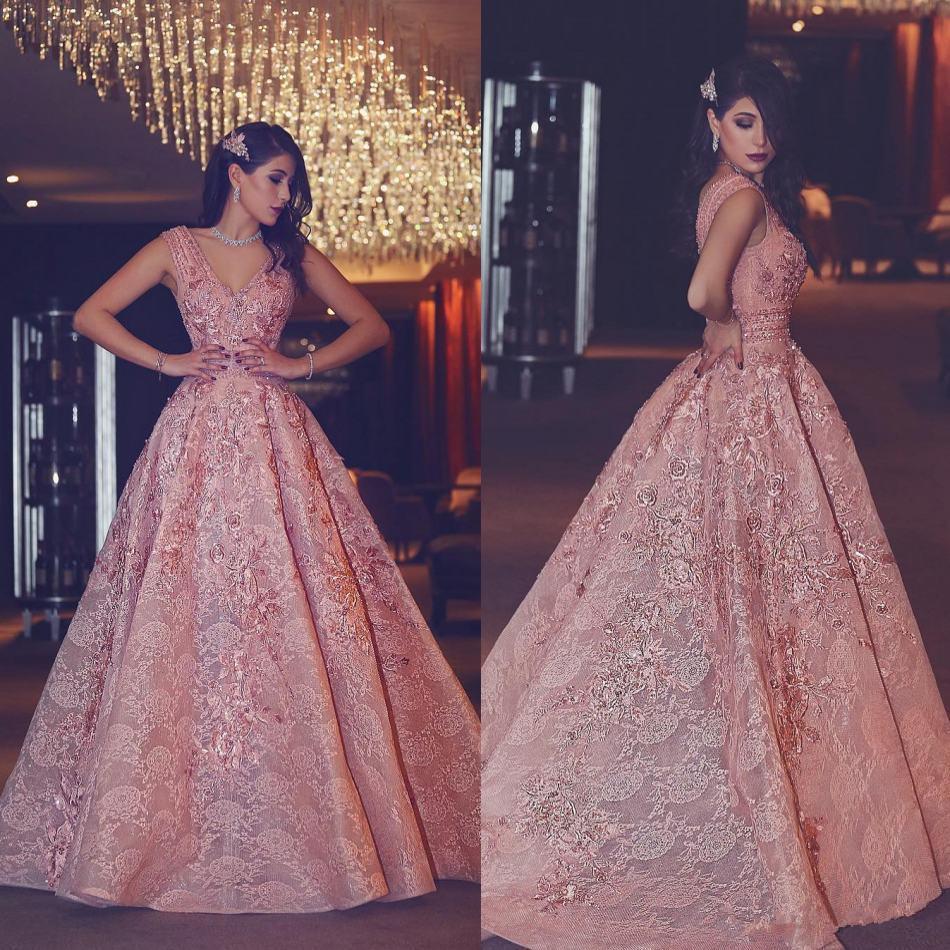 Luxury Crystal Prom Dresses 2019 Blush rosa Applique V Scollatura perline Una linea formale abiti da sera Fashion Party Dress
