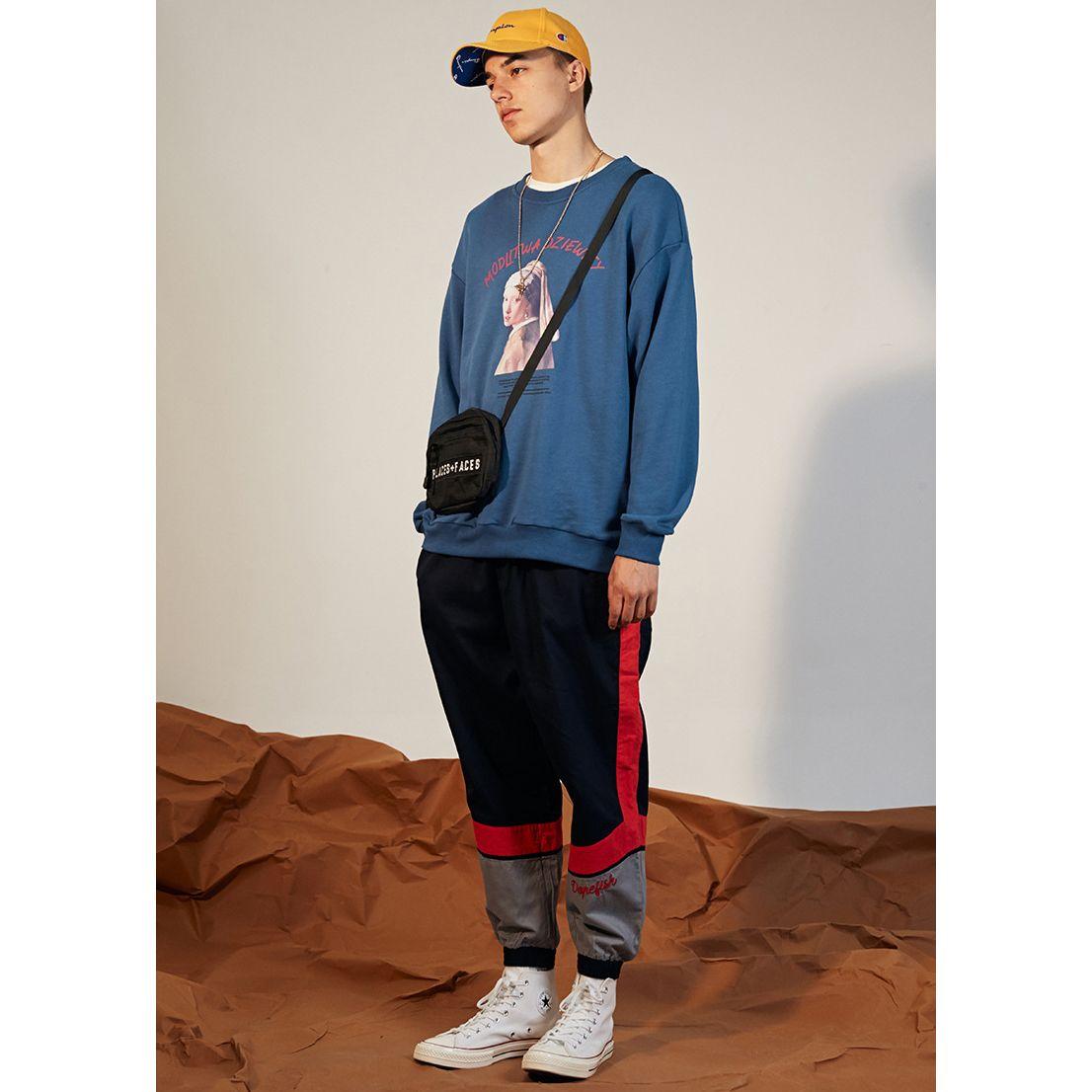 Sudaderas con capucha de hip hop para hombres de diseñador 2019 Nueva marca de marea Suéter de cuello redondo Letra suelta impresa con sudadera con capucha de patrón de niña perla Ropa azul