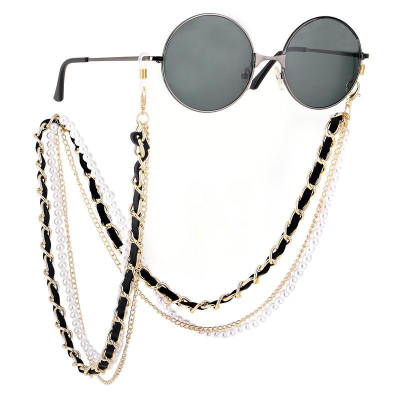 Hotsale Prestige étoile Lunettes anti-dérapant métal de la chaîne + perle artificielle + chaîne corde en cuir boucle de silicium de retenue de lanière de cou