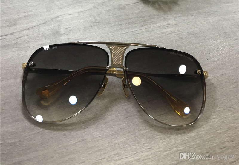 Gafas de sol de plata clásicas Dorado Cepillado Piloto Caja Gris Lente Nueva Marco para hombre Gafas de sol Unisex Sombreado con XXOHV