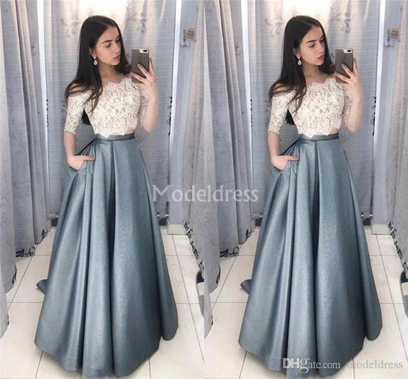 Modern Lace Prom Dresses Off Shoulder Two Pieces Illusion Half Sleeves 2019 Sexy Special Occasion Dresses Stylish Formal Party Evening Gowns